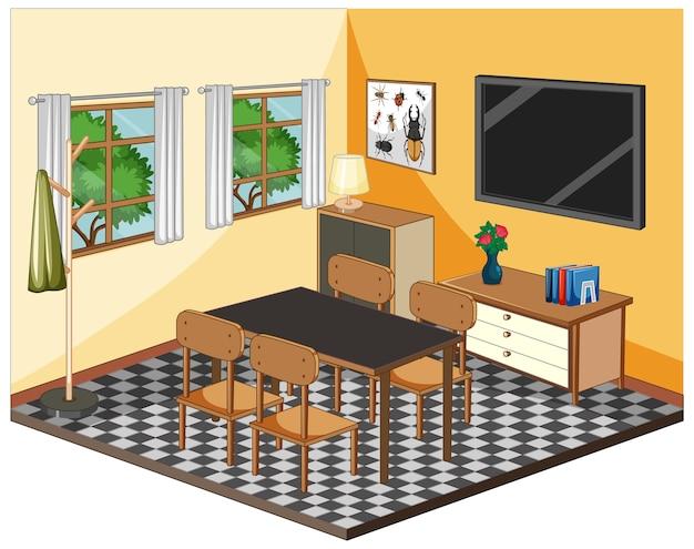 Interior da sala de estar com móveis em tema amarelo