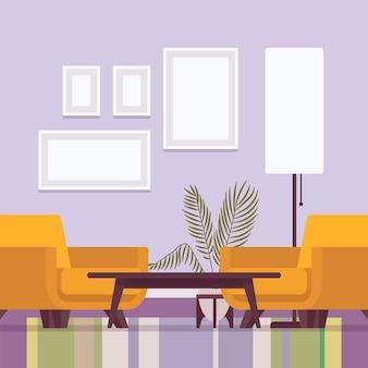 Interior da sala de estar com poltronas