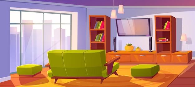 Interior da sala de estar com sofá e tv vista traseira