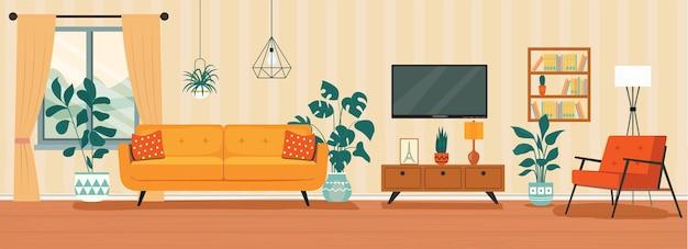 Interior da sala de estar com sofá tv janela cadeira ilustração em vetor estilo plano