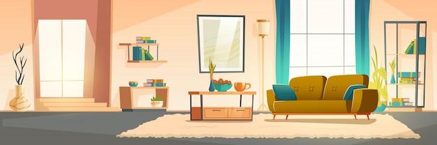 Interior da sala de estar com sofá