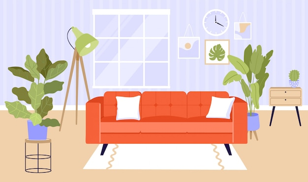 Interior da sala de estar contemporânea.