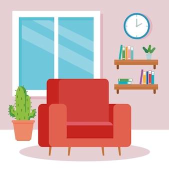 Interior da sala de estar da casa, com sofá e decoração.