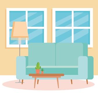 Interior da sala de estar da casa, com sofá, janelas e decoração.