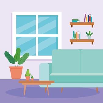 Interior da sala de estar da casa, com sofá, mesa, vaso de plantas e decoração.