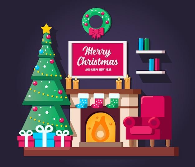 Interior da sala de estar de natal com árvore de natal e caixas de presente.