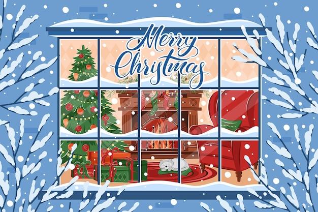 Interior da sala de estar de natal na janela de inverno letras de feliz natal