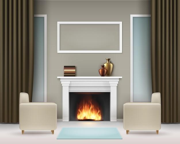 Interior da sala de estar de vetor com lareira branca, livros, vasos, porta-retratos, janelas, cortinas caqui marrons, duas poltronas bege e carpete azul