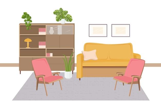 Interior da sala de estar decorado com móveis retrô e decorações para a casa no estilo dos anos 1970