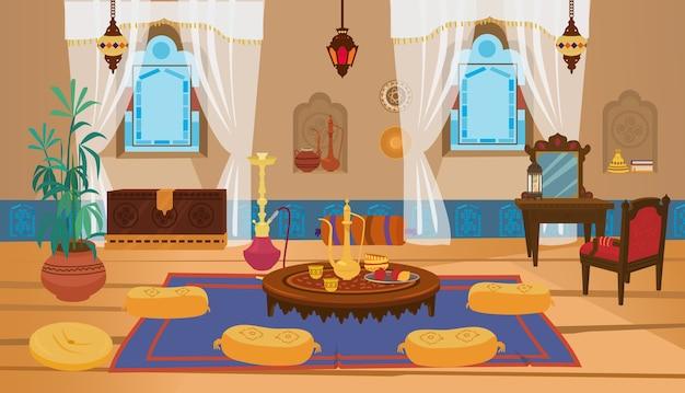 Interior da sala de estar do oriente médio com móveis de madeira e elementos de decoração.