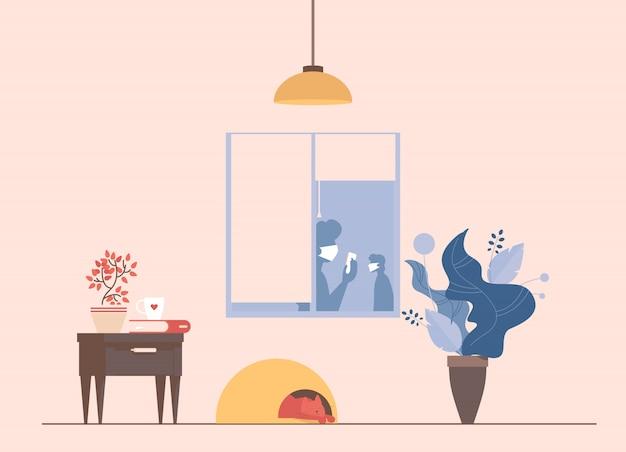 Interior da sala de estar durante a ilustração dos desenhos animados de surto de coronavírus.