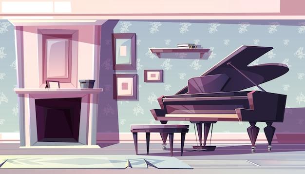 Interior da sala de estar em estilo clássico com lareira, piano de cauda e pinturas