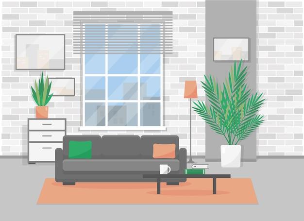 Interior da sala de estar em estilo loft moderno