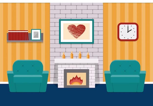 Interior da sala de estar em estilo simples, com lareira e poltronas.