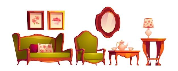 Interior da sala de estar em estilo vitoriano clássico