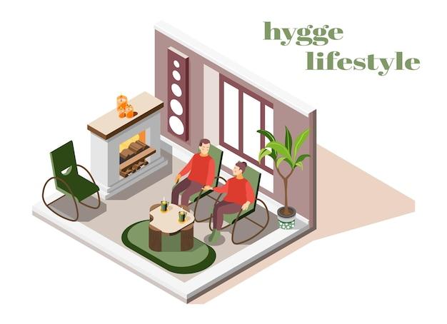 Interior da sala de estar hygge lifestyle com lareira, velas de plantas confortáveis um com o outro casal isométrico