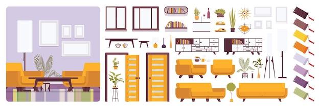 Interior da sala de estar, kit de criação para casa ou escritório, conjunto de lounge