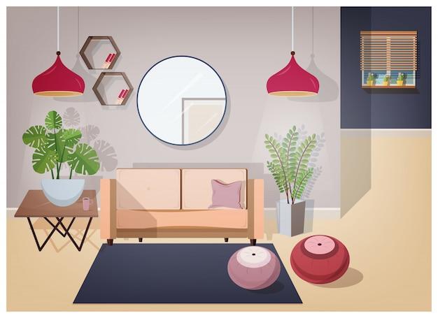 Interior da sala de estar mobilada com móveis confortáveis e elegantes decorações para casa - sofá aconchegante, mesa de café, plantas da casa, candeeiros, espelho, tapete e pufes. ilustração em estilo simples.