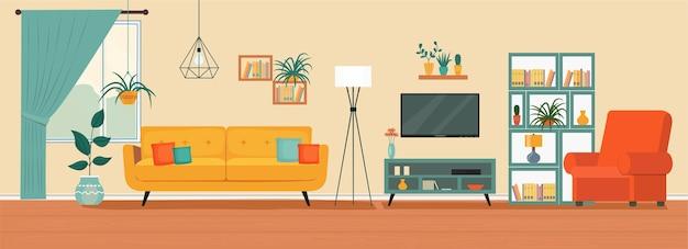 Interior da sala de estar sofá confortável, cadeira de janela de tv e plantas da casa