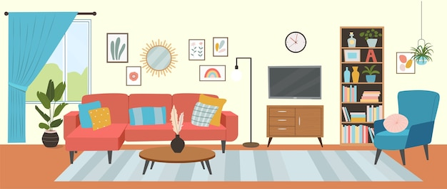 Interior da sala de estar sofá confortável tv janela cadeira e plantas de casa ilustração estilo plano