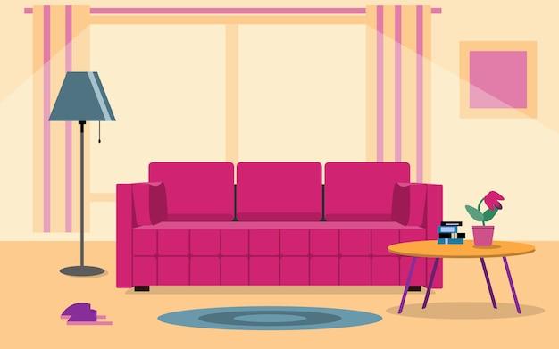 Interior da sala de estar. sofá de móveis, estante de livros, lâmpadas. ilustração do estilo simples vida doméstica