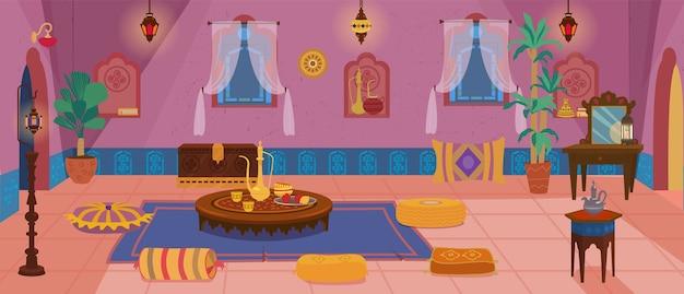 Interior da sala de estar tradicional do oriente médio