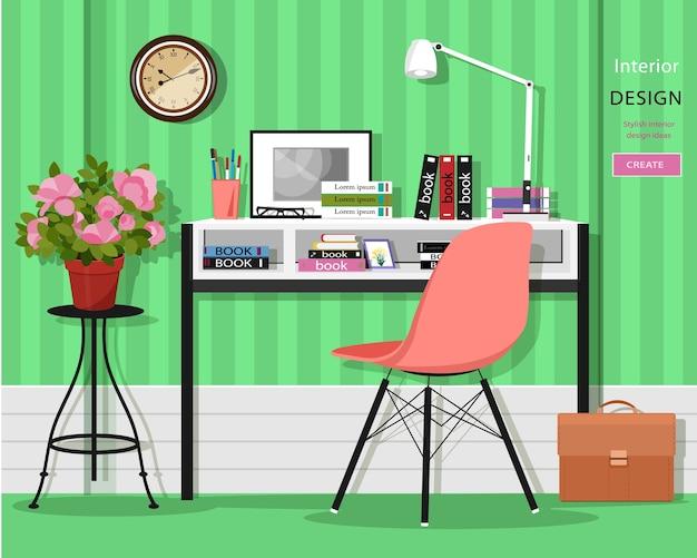 Interior da sala de home office com mesa, cadeira, lâmpada, livros, bolsa e flores.