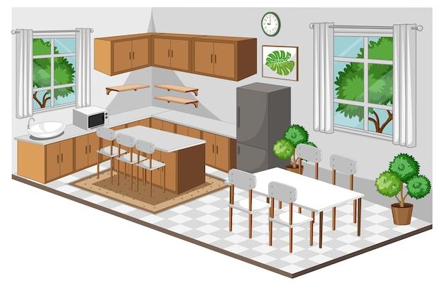 Interior da sala de jantar com móveis em estilo moderno
