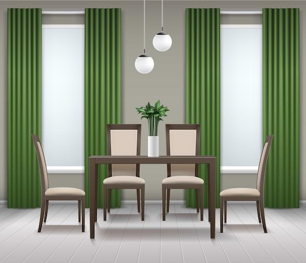 Interior da sala de jantar vetorial com mesa de madeira marrom, quatro cadeiras, lustre ou lâmpada, vaso de flores, janelas e cortinas verdes