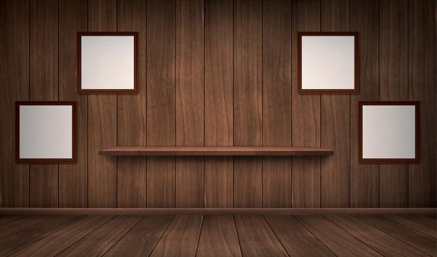 Interior da sala de madeira com prateleira e molduras