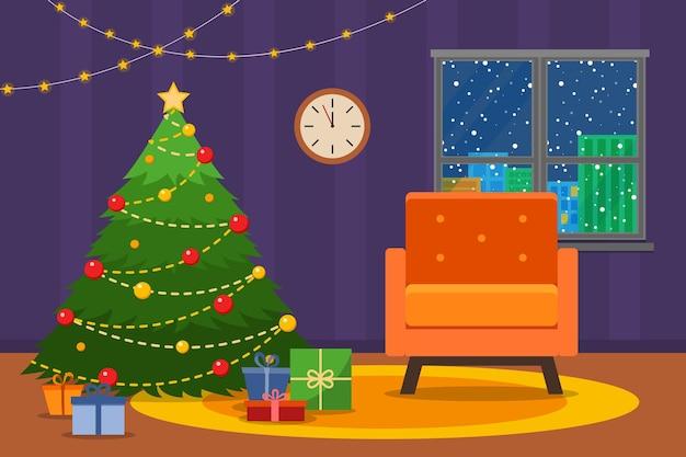 Interior da sala de natal. árvore de natal com poltrona. ilustração em vetor estilo simples.