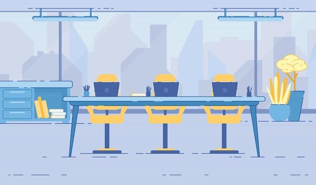Interior da sala de reunião de escritório com parede de vidro.
