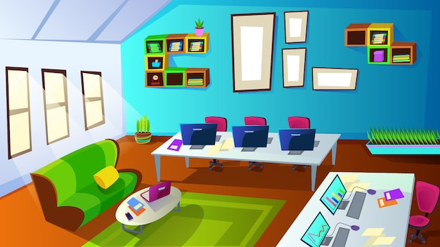 Interior da sala de treinamento de funcionários da empresa com computador