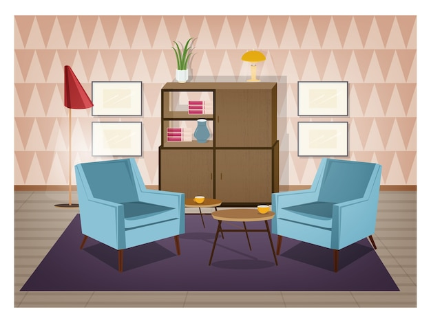 Interior da sala decorada em estilo retro. móveis antiquados e decorações para casa - poltronas, carpete, mesa de centro, aparador, luminária de chão, quadros de parede. ilustração do vetor dos desenhos animados.