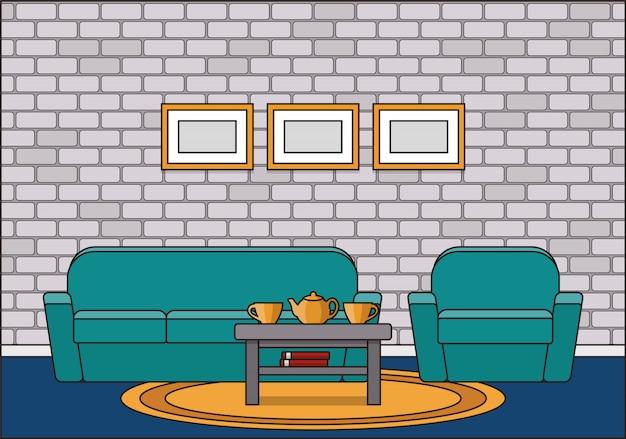 Interior da sala em design plano de linha arte. ilustração.