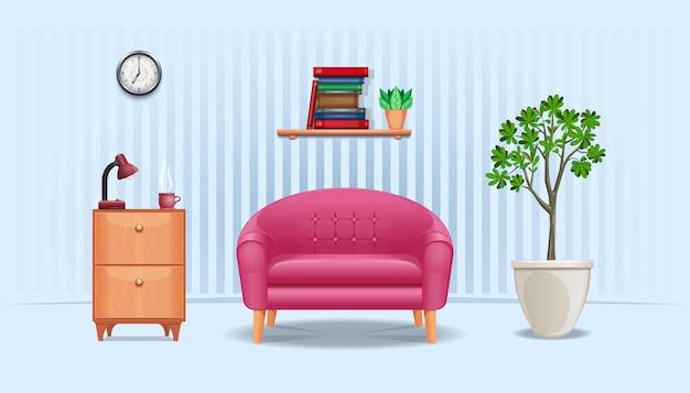 Interior da sala. mesa de cabeceira com abajur e xícara de café, sofá, estante com livros e flores, relógio de parede e vaso com vaso de árvore. ilustração vetorial
