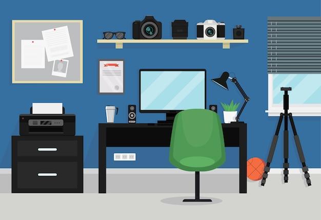 Interior da sala moderna de adolescente. espaço de trabalho para o fotógrafo