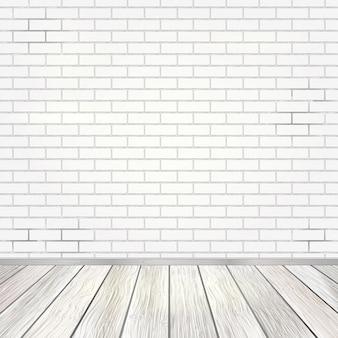 Interior da sala vazia com parede de tijolos brancos e fundo do assoalho de madeira