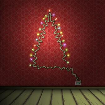 Interior da sala vintage com luzes de guirlanda de árvore de natal formada