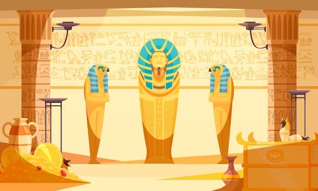 Interior da tumba egípcia com múmias mortas e bonecas pássaro íbis