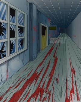 Interior da velha escola abandonada assustador.