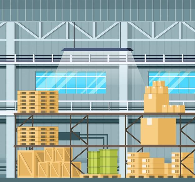Interior de armazenamento com mercadorias