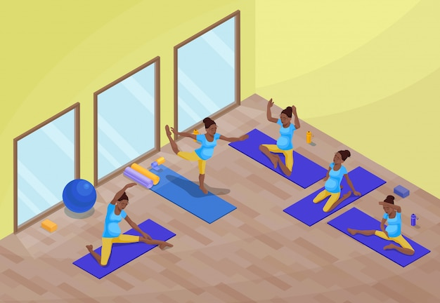 Interior de aula de ioga com mulher grávida africana