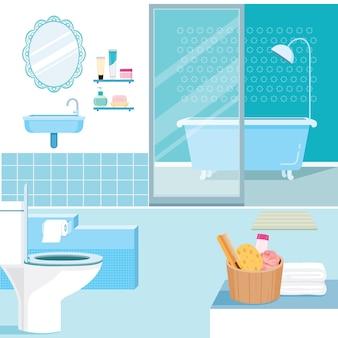Interior de banheiro e móveis internos