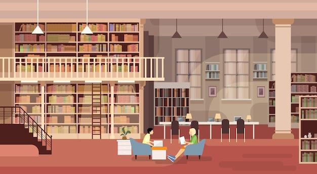 Interior de biblioteca de prateleiras de livro