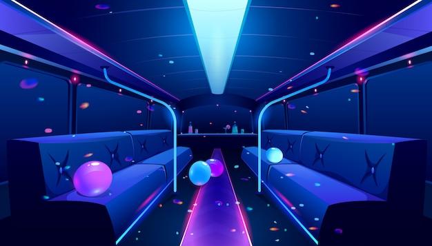 Interior de boate em ônibus de festa
