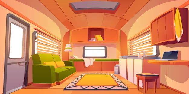 Interior de carro de reboque de acampamento, sala de motor home rv