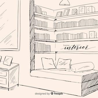 Interior de casa aconchegante mão desenhada