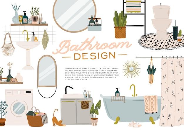 Interior de casa de banho escandinavo elegante - bidé, torneira, banheira, sanita, lavatório, decorações para a casa. apartamento confortável moderno e aconchegante decorado em estilo hygge.