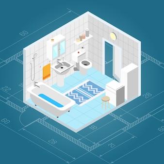 Interior de casa de banho isométrica